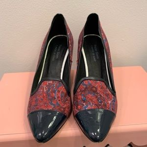 Peter Som Red and Navy Paisley Wedges